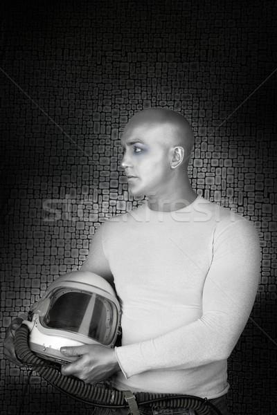 Yabancı gelecek gümüş astronot kask adam Stok fotoğraf © lunamarina