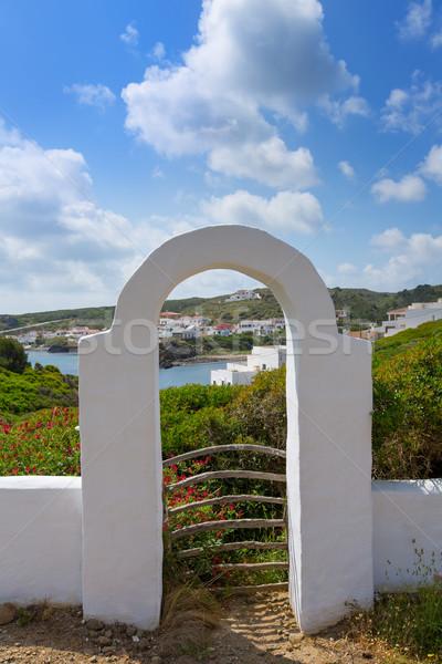 Menorca Cala Sa Mesquida Mao Maon arch entrance Stock photo © lunamarina