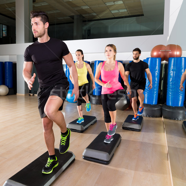 Cardio étape danse groupe fitness gymnase Photo stock © lunamarina