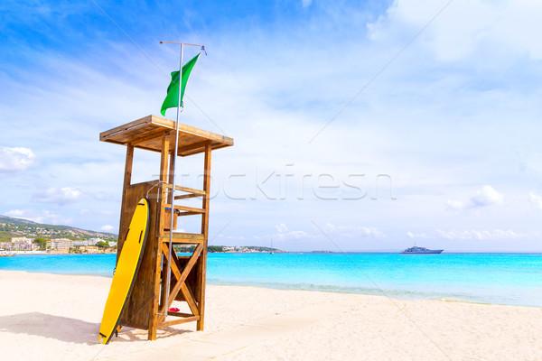 Strand landschap zee zomer oceaan Blauw Stockfoto © lunamarina