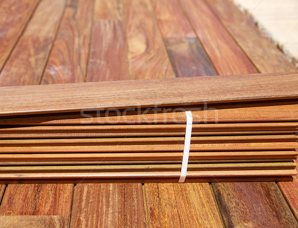Stock photo: Ipe decking installation with wood slats