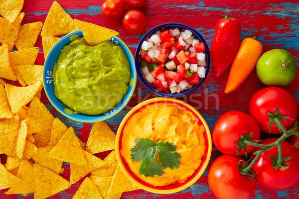 Mexikói étel nachos sajt cheddar étterem vacsora Stock fotó © lunamarina