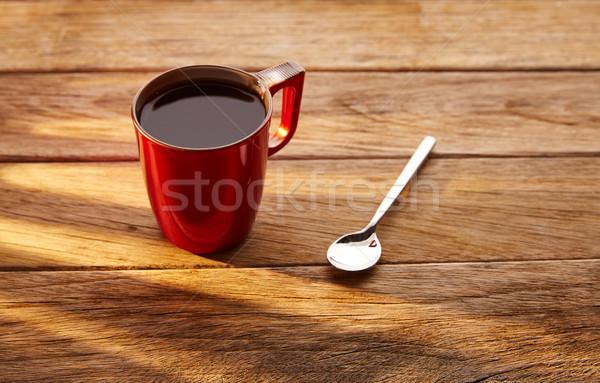 Stok fotoğraf: Kahve · kırmızı · fincan · kaşık · bağbozumu · ahşap