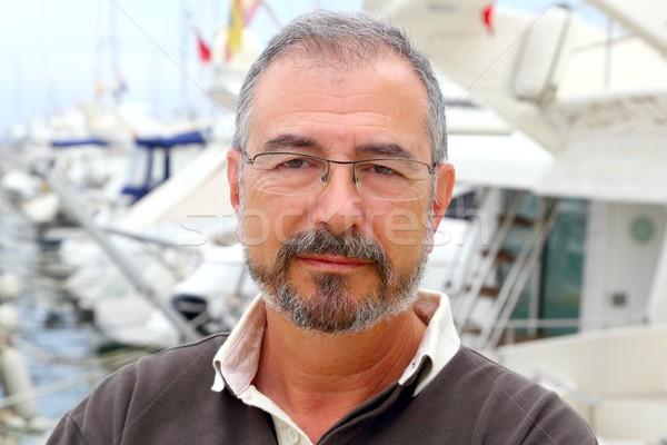 Zdjęcia stock: Starszy · człowiek · marina · sportu · łodzi · portret