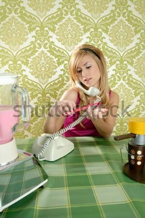 retro housewife telephone woman vintage wallpapaper Stock photo © lunamarina