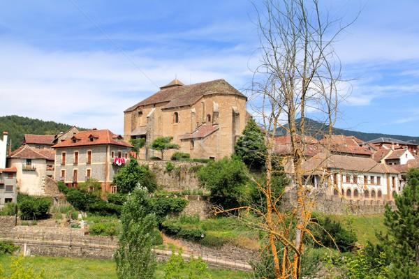 Hecho village Pyrenees with Romanesque church Stock photo © lunamarina