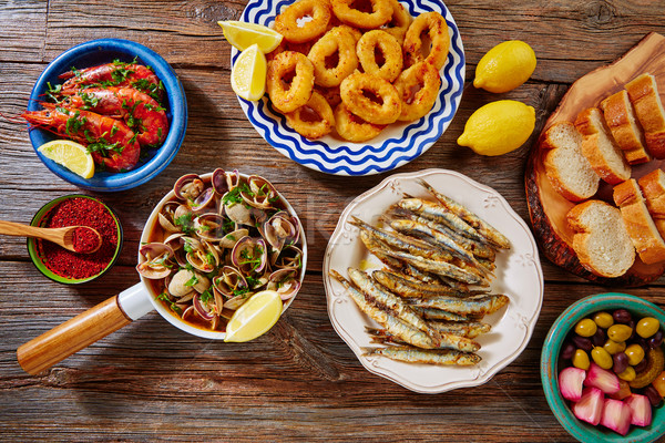 Tapas clams shrimps calamari fried anchovies Stock photo © lunamarina