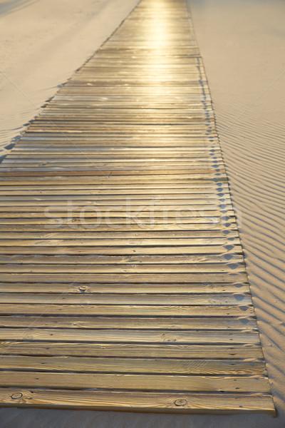Stock photo: Beach wooden walkway and sand dunes texture