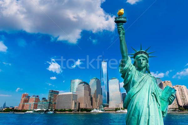 Liberty Statue and New York skyline US Stock photo © lunamarina