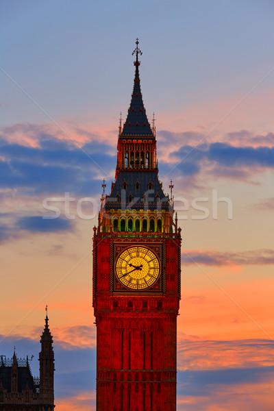 Big Ben Clock Tower in London sunset England Stock photo © lunamarina