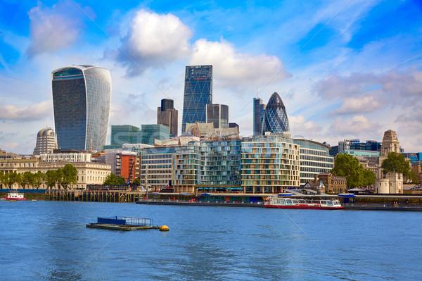 London pénzügyi negyed sziluett tér város híd Stock fotó © lunamarina