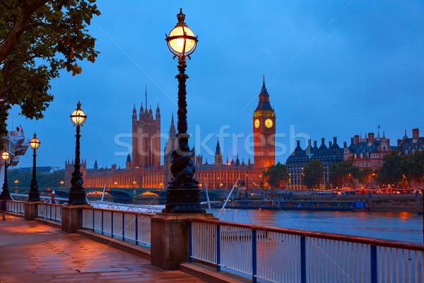 Londres coucher du soleil Skyline thames rivière eau Photo stock © lunamarina