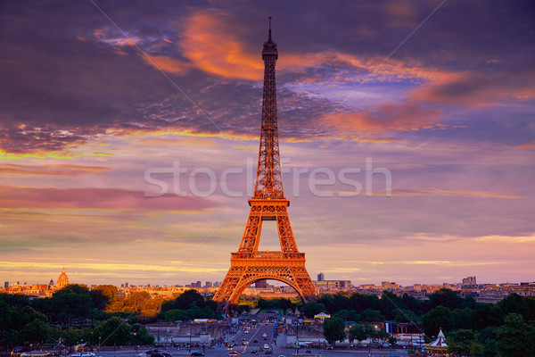 Eiffel tower at sunset Paris France Stock photo © lunamarina