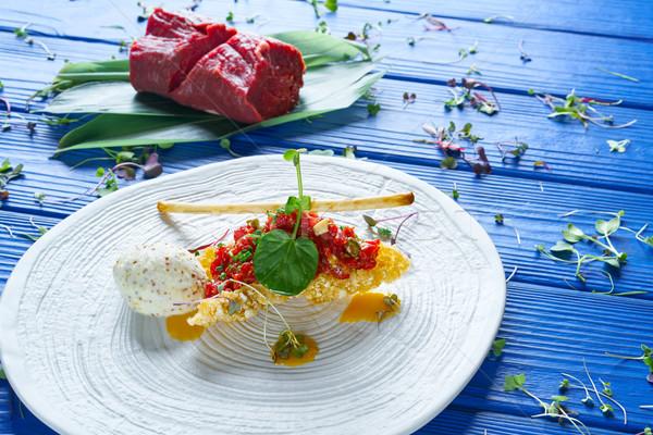 Stok fotoğraf: Biftek · hardal · dondurma · hava · yastığı · ahşap · arka · plan