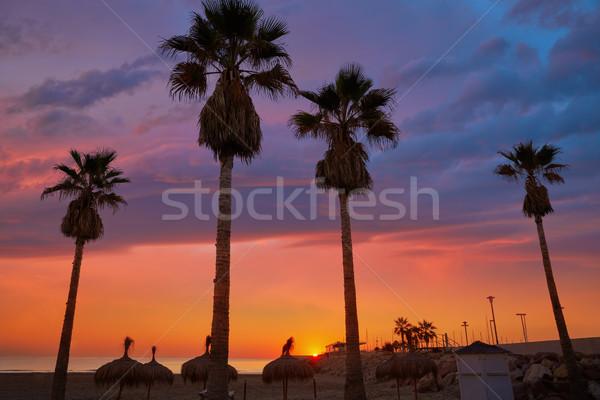 Strand Valencia water zonsondergang landschap zomer Stockfoto © lunamarina