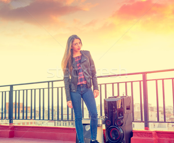 Teenager girl standing outdoor at roof terrace Stock photo © lunamarina