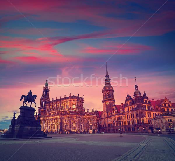 Дрезден закат Германия небе здании лошади Сток-фото © lunamarina