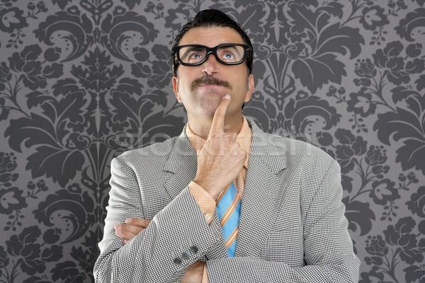 Stréber üzletember töprengő kézmozdulat hülye vicces Stock fotó © lunamarina