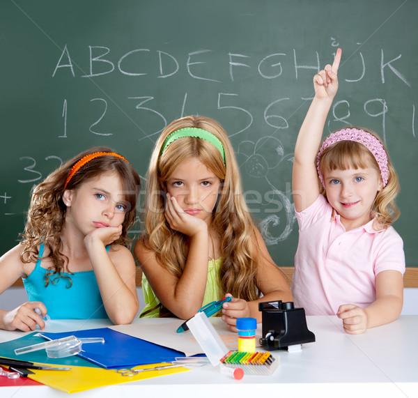 Foto stock: Chato · triste · estudante · inteligente · crianças · menina