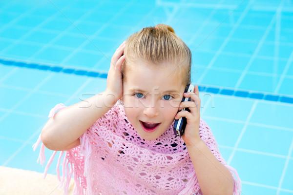Stock photo: blond child little girl talking mobile phone