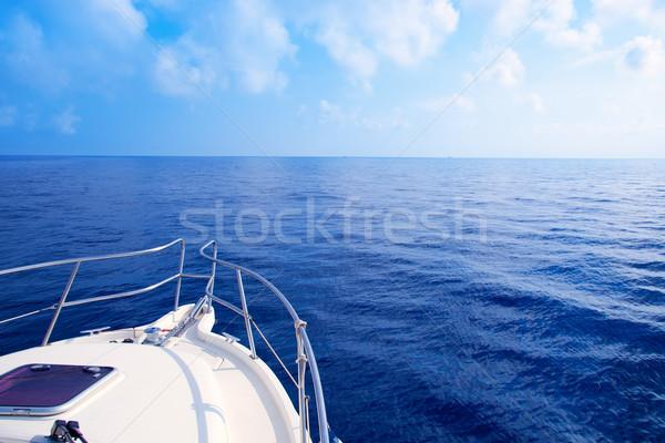Boat bow sailing in blue Mediterranean sea Stock photo © lunamarina