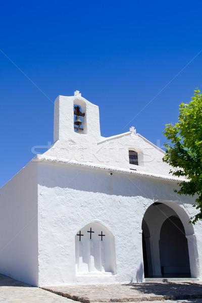 Ibiza white church in Sant Carles Peralta Stock photo © lunamarina
