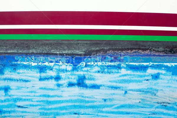 blue grunge antifouling paint on boat side Stock photo © lunamarina