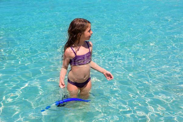 Foto stock: Agua · agua · playa · púrpura · bikini · nina