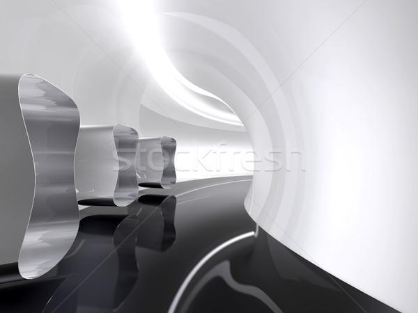 Futurisztikus építészet űr folyosó ahogy scifi Stock fotó © lunamarina