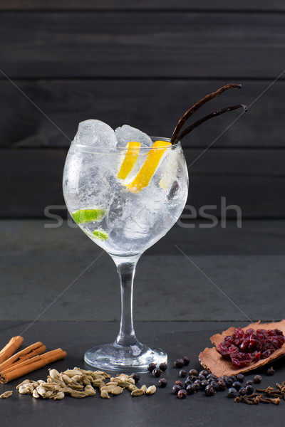 Gin tonic cocktail with ice vanilla lima and varied spices Stock photo © lunamarina