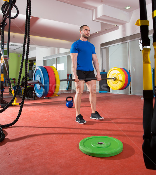Crossfit fitness gymnasium zwaar gewichtheffen bar Stockfoto © lunamarina