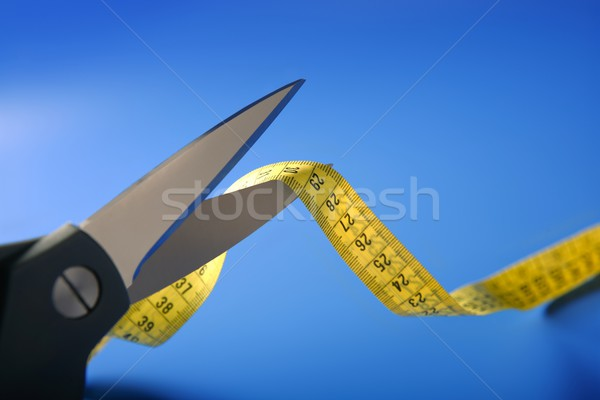 taylor yellow centimeter tape meter and scissors cutting Stock photo © lunamarina