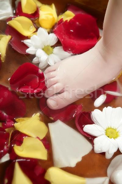 Aromaterapi çiçekler ayaklar banyo gül Stok fotoğraf © lunamarina