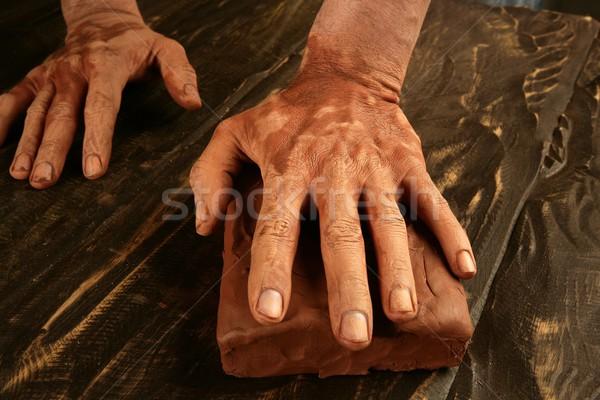Cserépedények kezek munka agyag dolgozik piros Stock fotó © lunamarina