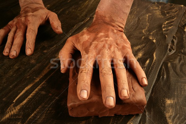 pottery craftmanship potter hands work clay Stock photo © lunamarina