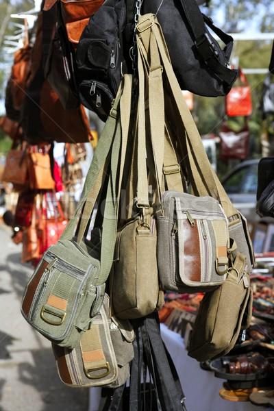 bags hanging in market shop green khaki brown Stock photo © lunamarina