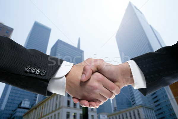 Businessman partners shaking hands with suit Zdjęcia stock © lunamarina
