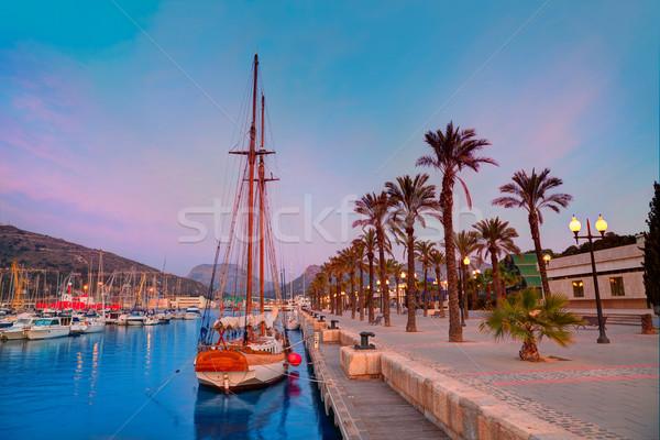 Kikötő marina napfelkelte Spanyolország mediterrán fa Stock fotó © lunamarina
