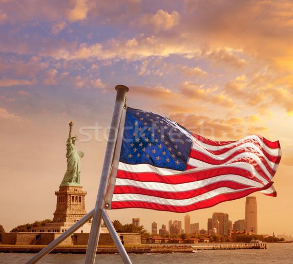 像 自由 ニューヨーク アメリカンフラグ マンハッタン 米国 ストックフォト © lunamarina