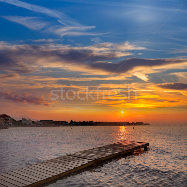Denia beach sunset Mediterranean Alicante Spain Stock photo © lunamarina