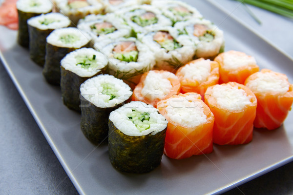 Sushi maki Californië rollen voedsel restaurant Stockfoto © lunamarina