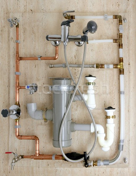 copper plumbing installation and polyethylene pvc Stock photo © lunamarina