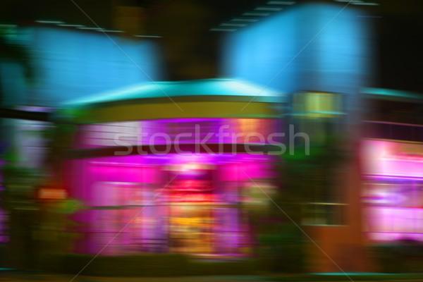 Stock fotó: Elmosódott · éjszaka · színes · fények · Miami · tengerpart