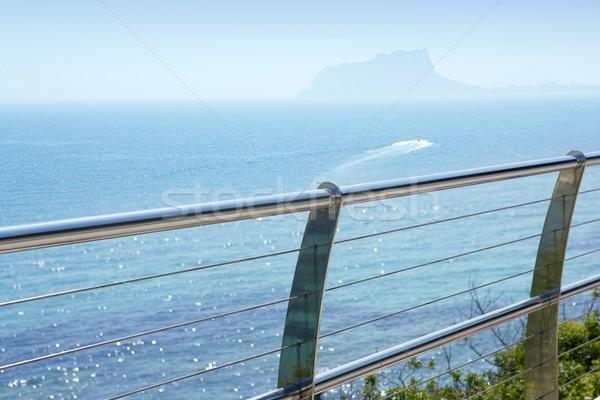 Ze stali nierdzewnej balkon morze Śródziemne morza wody domu Zdjęcia stock © lunamarina