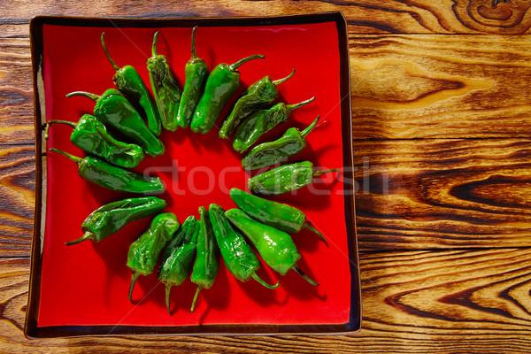 Tapas zöld paprikák kolbász háttér konyha Stock fotó © lunamarina