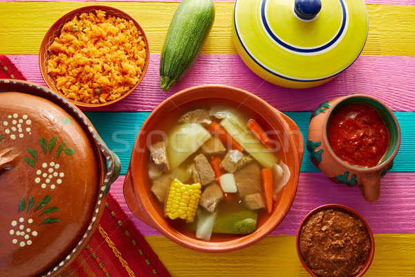 Caldo de res Mexican beef broth in table Stock photo © lunamarina