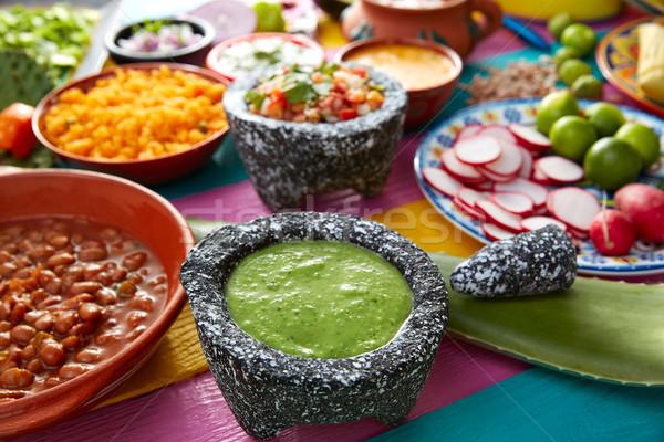 Verde salsa tomate chile comida mexicana mesa Foto stock © lunamarina