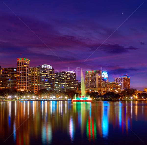 Orlando horizonte puesta de sol lago Florida EUA Foto stock © lunamarina