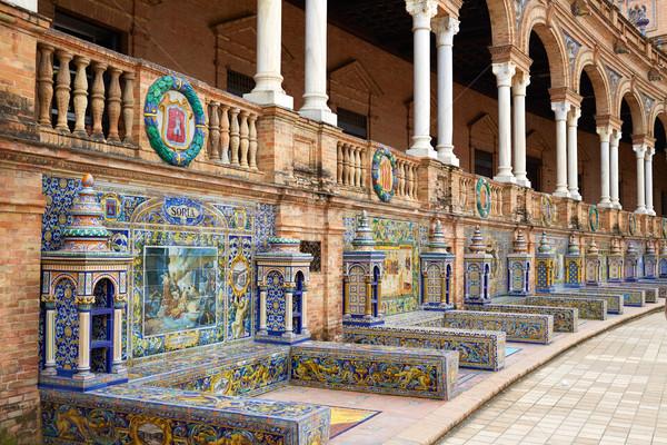 Foto stock: Espanha · banco · praça · edifício · cidade · viajar
