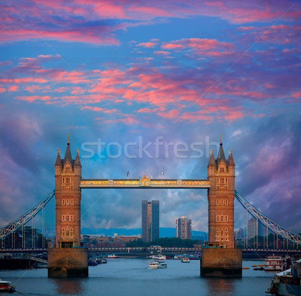 Londra Tower Bridge tramonto thames fiume Inghilterra Foto d'archivio © lunamarina